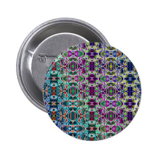 Abstract Rainbow Mandala Fractal 6 Cm Round Badge