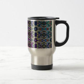 Abstract Rainbow Mandala Fractal Travel Mug
