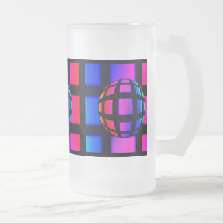 Abstract Rainbow Marble Frosted Beer Mug
