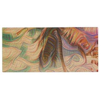 Abstract Rainbow Palm Tree Wood USB Flash Drive