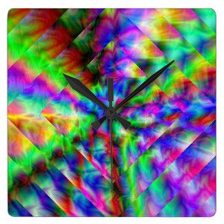 Abstract Rainbow Reflections Clocks