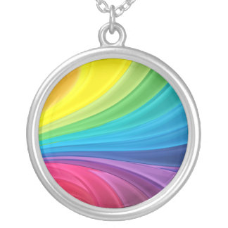 Abstract Rainbow Round Pendant Necklace