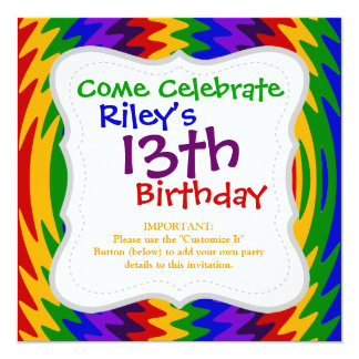 Abstract Rainbow Saw Blade Ripples Colorful Design 13 Cm X 13 Cm Square Invitation Card