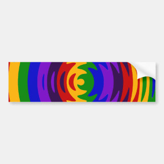 Abstract Rainbow Saw Blade Ripples Colorful Design Car Bumper Sticker