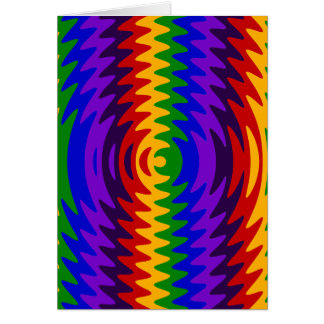 Abstract Rainbow Saw Blade Ripples Colorful Design Greeting Card