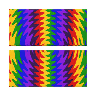 Abstract Rainbow Saw Blade Ripples Design Gallery Wrapped Canvas