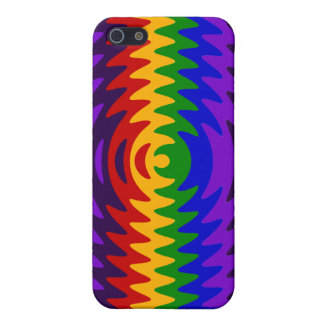 Abstract Rainbow Saw Blade Ripples Design Cases For iPhone 5