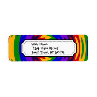 Abstract Rainbow Saw Blade Ripples Design Return Address Label