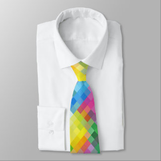 Abstract Rainbow Square Mosaic Pattern Tie