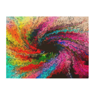 Abstract Rainbow Storm Oil Painting Wood Canvases