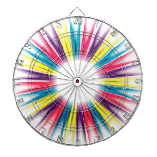 Abstract Rainbow Sun Rays Pegs Dartboard