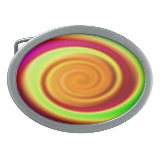 Abstract Rainbow Swirl Pattern Oval Belt Buckle