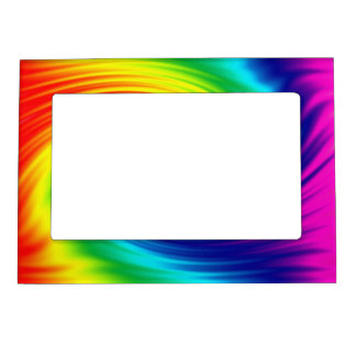 Abstract rainbow tie dye spiral. magnetic picture frame