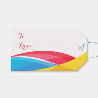 Abstract Rainbow Wave Red & Yellow Retro Tag