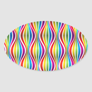 Abstract Rainbow Wave Oval Stickers