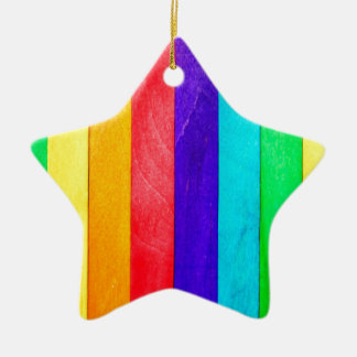 Abstract Rainbow Wood Wooden Fence Ceramic Star Decoration