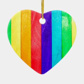 Abstract Rainbow Wood Wooden Fence Christmas Ornament