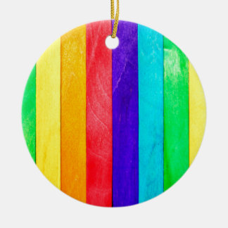 Abstract Rainbow Wood Wooden Fence Round Ceramic Decoration