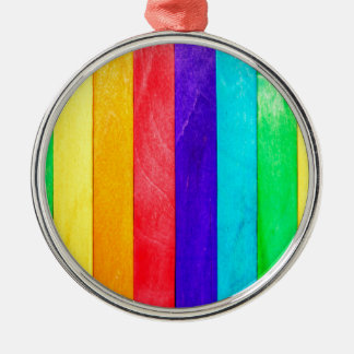 Abstract Rainbow Wood Wooden Fence Silver-Colored Round Decoration