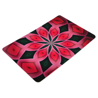 Abstract Red And Dark Green Pattern Background Floor Mat
