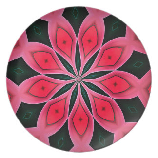Abstract Red And Dark Green Pattern Background Party Plates