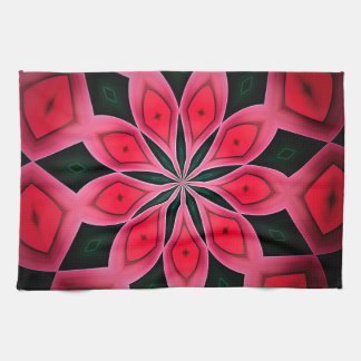 Abstract Red And Dark Green Pattern Background Tea Towel