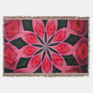 Abstract Red And Dark Green Pattern Background Throw Blanket