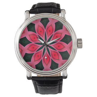 Abstract Red And Dark Green Pattern Background Watch