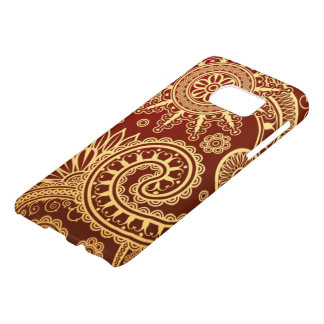 Abstract Red and Gold Floral Pattern