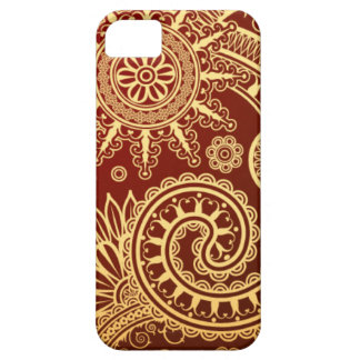 Abstract Red and Gold Floral Pattern iPhone 5 Case