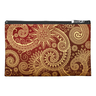 Abstract Red and Gold Floral Pattern Travel Accessory Bag