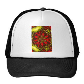 Abstract Red and Gold Trucker Hats