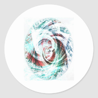 Abstract Red and Green Patterned Classic Round Sticker