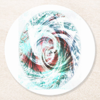 Abstract Red and Green Patterned Round Paper Coaster