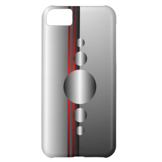 Abstract Red and Silver Metal Look iPhone 5C Case