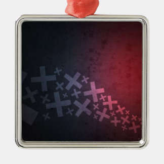 Abstract Red Black Pluses and X's Silver-Colored Square Decoration