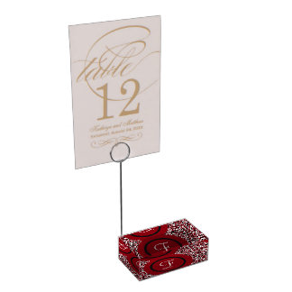 Abstract Red Black & White Floral Monogram Pattern Table Card Holder