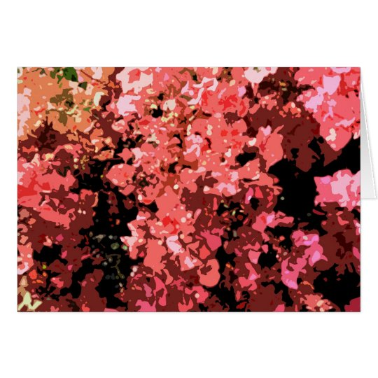 Abstract Red Bougainville Flowers Card
