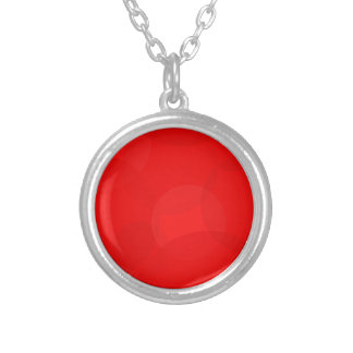 Abstract Red Circle Background Silver Plated Necklace