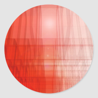Abstract Red Construct: Round Sticker