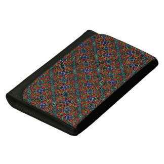 Abstract  Red Floral Pattern Leather Wallets