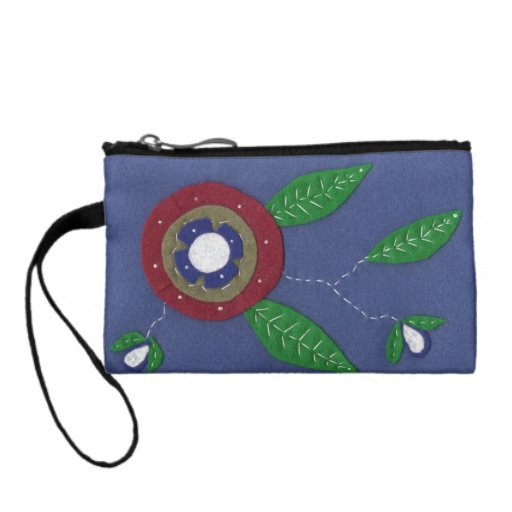Abstract Red Flower Change Purses