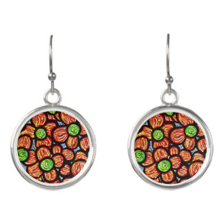 Abstract Red Flower Earrings
