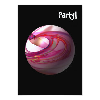 Abstract Red Globe 5x7 Paper Invitation Card