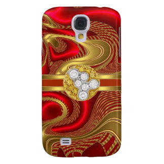 Abstract Red Gold Pern Diamond jewel Galaxy S4 Case