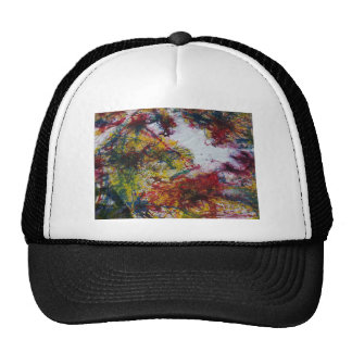 Abstract Red Green and Yellow Marble Look Painting Cap