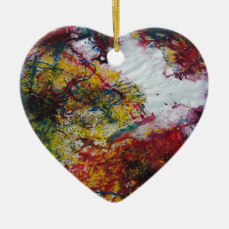 Abstract Red Green and Yellow Marble Look Painting Ceramic Heart Decoration