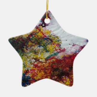 Abstract Red Green and Yellow Marble Look Painting Christmas Ornament