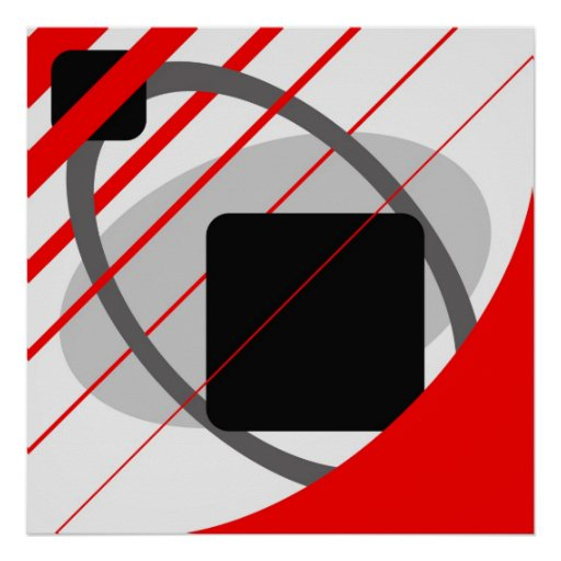 Abstract Red Grey Off-White Black AP0002 Poster