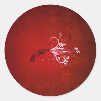 Abstract Red Gun Fire Round Sticker
